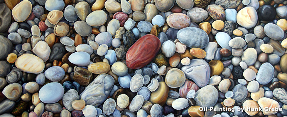 Beach Stones painting by Hank Grebe